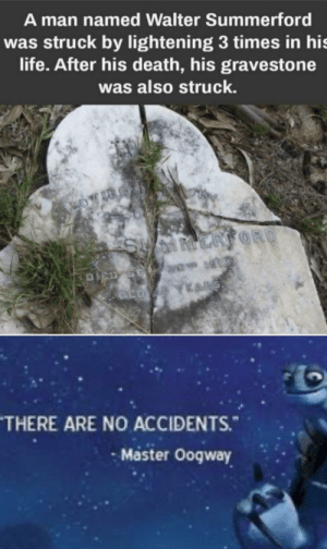 Another One, Life, and Death: A man named Walter Summerford  was struck by lightening 3 times in his  life. After his death, his gravestone  was also struck.  MRV  SUMMERFORD  DICD SE  CED YARS  THERE ARE NO ACCIDENTS.  Master Oogway And another one