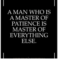 Master Patience: A MAN WHO IS  A MASTER OF  PATIENCE IS  MASTER OF  EVERYTHING  ELSE Master Patience