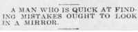 yesterdaysprint:  New Castle Herald, Pennsylvania, November 24, 1920  : A MAN WHO IS QUICK AT FIND  NG MISTAKES OUGHT TO LOOK  IN A MIRROR yesterdaysprint:  New Castle Herald, Pennsylvania, November 24, 1920