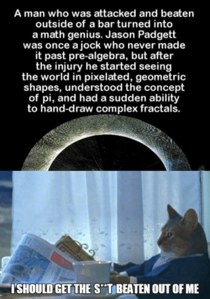 """srsfunny:This Will Help: A man who was attacked and beaten  outside of a bar turned into  a math genius. Jason Padgett  was once a jock who never made  it past pre-algebra, but after  the injury he started seeing  the world in pixelated, geometric  shapes, understood the concept  of pi, and had a sudden ability  to hand-draw complex fractals.  SHOULD GET THE S""""T BEATEN OUT OF ME srsfunny:This Will Help"""