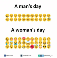 Memes, 🤖, and Sarcastic: A man's day  A woman's day  If V @Sarcasmlol  @Sarcastic Us  Sarcasmlol.com