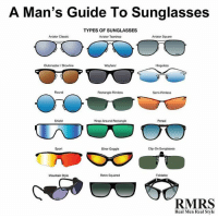 A Man's Guide To Sunglasses  TYPES OF SUNGLASSES  Aviator Classic  Aviator Square  Aviator Teardrop  Hinge less  Clubmaster/Browline  Wayfarer  Rectangle Rimless  Semi-Rimless  Persol  Wrap Around Rectangle  Sport  Biker Goggle  Clip On Sunglasses  Retro Squared  Mountain Style  RMRS  Real Men Real Style RT @ThePowerfulPics: The best sunglasses for every face shade- which is your favorite?