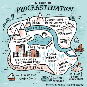 Happy World Procrastination Day! (I'll celebrate tomorrow): A MAP OF  ROCRASTINATION  GAMING  T.  TV/ \ SUDDEN URGE A  PEAK TO DO LAuNDRY  RIVER OF Ex  VALL  VALLEY  coMFORTI  ZONE  STRACTION  LAKE CoFFEE B  SOCIAL  CİTroF CLOSET : MEDIA  RE.ORGANIZATION 个FOREST  //N LINE  SHOPPIN  CH  I COVE  1SLE oF  GOoD  MoNSTER, INTENTIONS  PROBABLY  gemma cORRELL FoR EVERNOTE Happy World Procrastination Day! (I'll celebrate tomorrow)