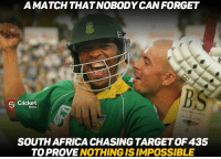 That Match <3 What a chase it was *_*: A MATCH THAT NOBODY CAN FORGET  S Cricket  Shots  SOUTH AFRICA CHASING TARGETOF435  TO PROVE  NOTHING IS IMPOSSIBLE That Match <3 What a chase it was *_*