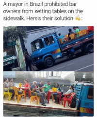 Memes, Prohibition, and 🤖: A mayor in Brazil prohibited bar  owners from setting tables on the  sidewalk. Here's their solution Because they are problem solvers 😂😂😂 Enjoy 🍻