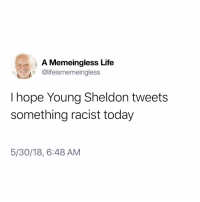 Life, Good, and Today: A Memeingless Life  @lifeismemeingless  I hope Young Sheldon tweets  something racist today  5/30/18, 6:48 AM Young Sheldon would be a good start. I could start a list.