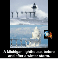 winter storm: A Michigan lighthouse, before  and after a winter storm