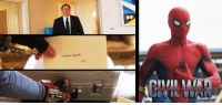Many are speculating that the SPIDER-MAN: HOMECOMING teaser sneak-peak showing Happy Hogan telling Peter Parker about the case from Tony Stark occurs right before the airport battle in CAPTAIN AMERICA: CIVIL WAR when Peter first tries on his upgraded suit.  (Brian): A minor upgrade  TS Many are speculating that the SPIDER-MAN: HOMECOMING teaser sneak-peak showing Happy Hogan telling Peter Parker about the case from Tony Stark occurs right before the airport battle in CAPTAIN AMERICA: CIVIL WAR when Peter first tries on his upgraded suit.  (Brian)