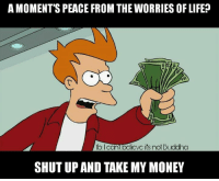 Of only it were that easy: A MOMENT SPEACE FROM THE WORRIES OF LIFE  fb can  ovc its not Buddha  SHUT UP AND TAKE MY MONEY Of only it were that easy