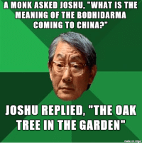 "My asian friend's dad actually says stuff like this lol: A MONK ASKED JOSHU, ""WHAT IS THE  MEANING OF THE BODHIDARMA  COMING TO CHINA?""  JOSHU REPLIED, ""THE OAK  TREE IN THE GARDEN""  made on imgur My asian friend's dad actually says stuff like this lol"