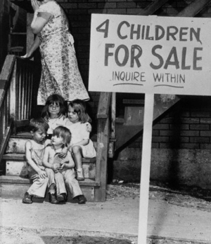 A mother hides her face after putting her children up for sale in 1948 Chicago: A mother hides her face after putting her children up for sale in 1948 Chicago
