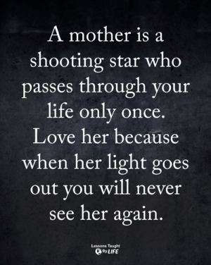 Life, Love, and Memes: A mother is a  shooting star who  passes through your  life only once  Love her because  when her light goes  out you will never  see her again  Lessons Taught  ByLIFE <3
