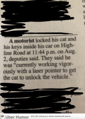 "failnation:  Sometimes you have to improvise: A motorist locked his cat and  his keys inside his car on High-  line Road at 11:44 p.m. on Aug.  2, deputies said. They said he  was ""currently working vigor-  ously with a laser pointer to get  the cat to unlock the vehicle.""  Uber Humor  2013, still no flying cars. Instead, blankets with sleeves. failnation:  Sometimes you have to improvise"