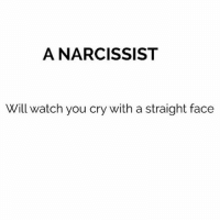 straight face: A NARCISSIST  Will watch you cry with a straight face