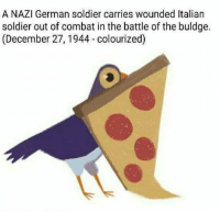Italian Soldiers: A NAZI German soldier carries wounded Italian  soldier out of combat in the battle of the buldge.  (December 27, 1944 colourized)