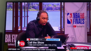 Stephen A Smith handles a stoned caller to his radio show in classic Stephen A fashion https://t.co/L4gnSsvOop: A  NBA  FINALS  Presented byYouTubeTV  BA FI  nufa  PROGRESSIVE  STEPHEN A SMITH  SHOW PSNTED SY  Call the Show  1-888-SAY-ESPN (1-888-729-3776)  STEPHEN  SMITH  fouTubeT  SHOW  IEPHEN  L  TOR president Masai Ujiri under investigation  NRA  CFL: Alouettes at Eskimos  Suanioion of  2019 Stephen A Smith handles a stoned caller to his radio show in classic Stephen A fashion https://t.co/L4gnSsvOop