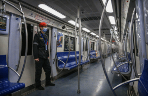 A nearly empty subway car during rush hour in Beijing: A nearly empty subway car during rush hour in Beijing