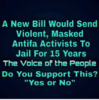 "Jail, Memes, and The Voice: A New Bill Would Send  Violent, Masked  Antifa Activists To  Jail For 15 Years  The Voice of the People  Do You Support This?  ""Yes or No"""