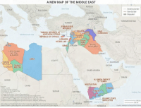 Dank, Jordans, and Militia: A NEW MAP OF THE MIDDLE EAST  RUSSIA  Black Sea  Existing border  New border  Caspian Sea  GEORGIA  Disputed  RBAIJAN  ARMENIA  TURKMENISTAN  GREECE  SYRIAN ARAB  REPUBLIC  JAVA  TURKISH REPUBLIC OF  KURDISTAN  Mediterranean Sea  SLAMIC  REPUBLIC OF CYPRUS  TATE  TUNISIA  LEBANON  SUNN  HEZBOLLAH  ARAB  SHIITE  ISRAEL JORDAN  ARAB IRAQ  LIBYA DAWN  MILITIA  AIT  ALLIANCE  LIBYA  EGYPT  TUARE  BAHRAIN  MILIT  QATAR  esert MILITIA  Gulf of Oman  SAUDI ARABIA  OMAN  Red Sea  AL-QAIDA EMIRATE  OF YEMEN  HOUTHISTAN  YEME  London Review of Bogks  EME  Institute for the  of War  SUDAN  ERITREA  OThe Clobal State  SLAMIC STATE  SATELLITES  DJIBOUTI Gulror  ETHIOPIA  lvarl is shown as few beugusi Re compasses the  Graphic redesign byGeopolisoal Future A New #Map of the Middle East Source: http://ow.ly/zFcY308aJhh