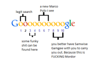 Fucking, Google, and Shit: a new Marco  Polo I see  legit search  GO000Oooooo81e  1 2 3 4 567 89 10  some funky  shit can be  found here  you better have Samwise  Gamgee with you to carry  you out. Because this is  FUCKING Mordor <p>google searching</p>