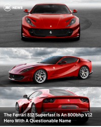 Via @carthrottlenews - It's really hard to follow Ferrari's logic with names. Whether we're talking about road cars or F1 cars, Ferrari has a habit of producing massively inconsistent, convoluted and downright bizarre names. GTC4Lusso springs to mind, but wait until you get a load of the latest one: 812 Superfast. No, I'm not joking. - But let's not get hung up on the naming choice, as Maranello's latest front-engine V12 hero - set to make its public debut at the Geneva Motor Show - looks to be quite a beast. It's best thought of as a highly-evolved F12 Berlinetta, and it's packing - wait for it - 789bhp. Superfast indeed. - It's all thanks to the 6.5-litre V12 under the bonnet, which has grown by just over 200cc compared to the F12's engine. It produces 59bhp more than the F12, and 19bhp more than the F12 tdf. Oh, and it makes its peak power at 8500rpm, and peak torque of 530lb ft at 7000rpm. So you'll need to rev the nuts off it. Can I get a hell yes? - 0-62mph happens in just 2.9 seconds, and it'll keep going until 211mph if you're brave enough to keep the throttle pinned. The 1525kg (dry) GT-supercar also comes with an updated version of the 'Virtual Short Wheelbase' rear wheel steering tech we first saw on the F12 tdf. - It's also been given electric power steering, a first for Ferrari. This will probably make a few purists shudder at the mere though, but if anyone can nail EPAS, it's Maranello. - Also on the electronic assistance menu is the fifth generation of Ferrari's Side Slip Control. That's the one that'll let mere mortals drift their V12 supercar while reducing the risk of finishing upside-down in a ditch. - The exterior represents a noticeable departure from the F12, and we like what we see. It's a lot more aggressive, and the, erm, unfortunate lines seen on the back of the old car are nowhere to be seen. All sounds jolly fantastic, but we do have to end on a sad note: this is probably the last 'pure' V12 car Ferrari will ever make. It's looking highly likely that whatever succeeds the 812 will be either turbocharged or come with hybrid assistance. If that's the case, the 812 will make for one hell of a send-off.: A NEWS  The Ferrari 812 Superfast Is An 800bhp V12  Hero With A Questionable Name Via @carthrottlenews - It's really hard to follow Ferrari's logic with names. Whether we're talking about road cars or F1 cars, Ferrari has a habit of producing massively inconsistent, convoluted and downright bizarre names. GTC4Lusso springs to mind, but wait until you get a load of the latest one: 812 Superfast. No, I'm not joking. - But let's not get hung up on the naming choice, as Maranello's latest front-engine V12 hero - set to make its public debut at the Geneva Motor Show - looks to be quite a beast. It's best thought of as a highly-evolved F12 Berlinetta, and it's packing - wait for it - 789bhp. Superfast indeed. - It's all thanks to the 6.5-litre V12 under the bonnet, which has grown by just over 200cc compared to the F12's engine. It produces 59bhp more than the F12, and 19bhp more than the F12 tdf. Oh, and it makes its peak power at 8500rpm, and peak torque of 530lb ft at 7000rpm. So you'll need to rev the nuts off it. Can I get a hell yes? - 0-62mph happens in just 2.9 seconds, and it'll keep going until 211mph if you're brave enough to keep the throttle pinned. The 1525kg (dry) GT-supercar also comes with an updated version of the 'Virtual Short Wheelbase' rear wheel steering tech we first saw on the F12 tdf. - It's also been given electric power steering, a first for Ferrari. This will probably make a few purists shudder at the mere though, but if anyone can nail EPAS, it's Maranello. - Also on the electronic assistance menu is the fifth generation of Ferrari's Side Slip Control. That's the one that'll let mere mortals drift their V12 supercar while reducing the risk of finishing upside-down in a ditch. - The exterior represents a noticeable departure from the F12, and we like what we see. It's a lot more aggressive, and the, erm, unfortunate lines seen on the back of the old car are nowhere to be seen. All sounds jolly fantastic, but we do have to end on a sad note: this is probably the last 'pure' V12 car Ferrari will ever make. It's looking highly likely that whatever succeeds the 812 will be either turbocharged or come with hybrid assistance. If that's the case, the 812 will make for one hell of a send-off.