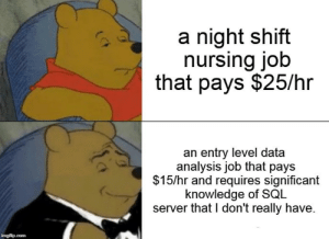 Mean, Nursing, and Knowledge: a night shift  nursing job  that pays $25/hr  an entry level data  analysis job that pays  $15/hr and requires significant  knowledge of SQL  server that I don't really have. I have been a nurse since 2015. After 2 years of torture, err I mean learning, I got my first programming job. Huzzah!