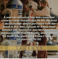 Death Star, Empire, and Luke Skywalker: A now non-canonical Star Wars expanded  universe comic revealed that R5-D4, the droid  Luke Skywalker almost purchased from in Star Wars Episode New Hope  before it self-destructed, was force sensitive  and had a vision that the Empire would reclaim  the Death Star plans and kill Leia if Luke did  not purchase R2-D2.  L E G E N D S  act #331  @Starwarsfacts I'm glad this isn't canon anymore. starwarsfacts