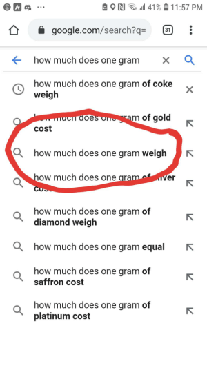 How much does one gram weigh? Seriously?!: A ON  41% O 11:57 PM  google.com/search?q=  31  how much does one gram  how much does one gram of coke  weigh  wmucn does onram of gold  cost  Q how much does one gram weigh  how much does one gram of  ver  how much does one gram of  diamond weigh  Q how much does one gram equal  how much does one gram of  saffron cost  how much does one gram of  platinum cost How much does one gram weigh? Seriously?!