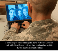 We thank you all.: a paratrooper with 1st Brigade, 82nd Airborne Division  talk with his wife and children back at Fort Bragg, N.C  during the Christmas holidays We thank you all.
