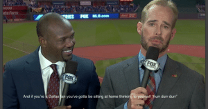 """Wow I can't believe Joe Buck would go there: A PAS  HOOD  RIES FOX MLB.com  ate Farm  FOX  SPORTS  FOX  SPORTS  And if you're a Dallas fan you've gotta be sitting at home thinking to yourself """"hurr durr durr"""" Wow I can't believe Joe Buck would go there"""