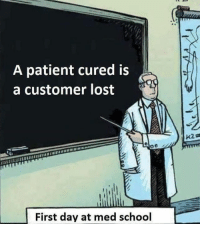 School, Lost, and Patient: A patient cured is  a customer lost  First day at med school Stay woke.