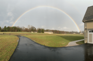 A perfect rainbow near my house today. If you look closely theres another flipped rainbow above it!: A perfect rainbow near my house today. If you look closely theres another flipped rainbow above it!