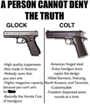 Agree or disagree? (I love Glocks myself. -- Buck): A PERSON CANNOT DENY  THE TRUTH  GLOCK  COLT  -High quality tupperwareAmerican forged steel  -Not made in America  -Nobody cares that  you own one  -Higher magazine capacity North Koreans, and Terrorists  because you can't aim  -Every handgun since  copies the design  -Killed Germans, Vietcong,  -Customizable  -Freedom dispensed seven  rounds at a time  or  -Basically the Honda Civic  of handguns Agree or disagree? (I love Glocks myself. -- Buck)