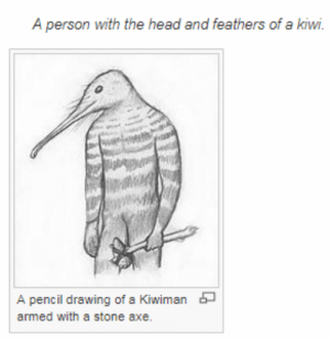 Head, Target, and Tumblr: A person with the head and feathers of a kiwi.  A pencil drawing of a Kiwiman  armed with a stone axe. hussainthemvp:  Me