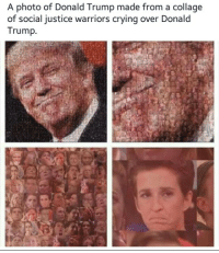 Art ~Raeleka: A photo of Donald Trump made from a collage  of social justice warriors crying over Donald  Trump. Art ~Raeleka