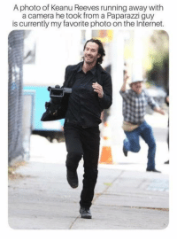 Run Neo Run: A photo of Keanu Reeves running away with  a camera he took from a Paparazzi guy  is currently my favorite photo on the Internet. Run Neo Run