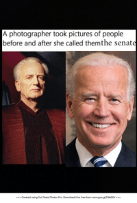 "Memes, Free, and Http: A photographer took pictures of people  before and after she called themthe senate  === Created using Cut Paste Photos Pro. Download it for free from www.goo.gl/53b60V === <p>Did you know he could act tho? via /r/memes <a href=""http://ift.tt/2k8337Q"">http://ift.tt/2k8337Q</a></p>"