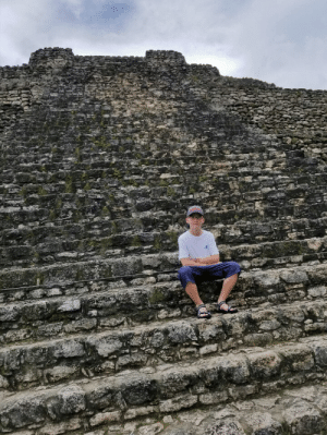Mexico, Mayan, and Maya: A pic of me sitting on the Mayan temples in Costa Maya, Mexico.