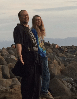 A picture I want to save of my bf Jeffrey and his dad Jeff smiling during a sunset at the secret rocks: A picture I want to save of my bf Jeffrey and his dad Jeff smiling during a sunset at the secret rocks