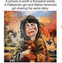 Memes, Native American, and American: A picture is worth a thousand Words.  A Palestinian girl and Native American  girl sharing the same story. will we ever learn?