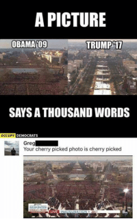 Memes, 🤖, and Greg: A PICTURE  OBAMA 09  TRUMP 17  SAYS ATHOUSAND WORDS  OCCUPY  DEMOCRATS  Greg  Your cherry picked photo is cherry picked  LIVE