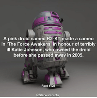 Memes, R2-D2, and 🤖: A pink droid named R2-KT made a cameo  in 'The Force Awakens in honour of terribly  ill Katie Johnson, who owned the droid  before she passed away in 2005.  Fact #126  @Starwars facts Katie had her very own droid made by the R2-D2 builders club which she lived with. starwarsfacts
