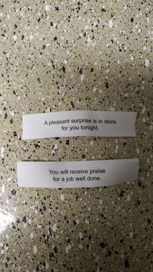 Funny, Wife, and Job: A pleasant surprise is in store  for you tonight.  You will receive praise  for a job well done. Me and the wifes fortune cookie messages via /r/funny https://ift.tt/2FQ3SBI