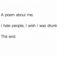 I Hate People Meme: A poem about me.  I hate people, wish I was drunk  The end