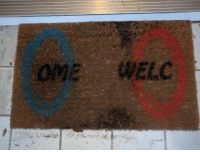 Portal, Mat, and  Welcome: A portal welcome mat! https://t.co/CpWFaaSyQ8