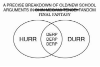 "Memes, Justified, and Final Fantasy: A PRECISE BREAKDOWN OF OLD/NEW SCHOOL  ARGUMENTS IN  FANDOM  FINAL FANTASY  DERP  HURR DERP  DURR  DERP What makes a Final Fantasy a Final Fantasy game? Playing through XV is seriously making me question The Final Fantasy Series's ""Old School Vs. New School Arguments"". The first problem I have with it is the way people argue it. They're always making blanket statements, like ""The old games were better because they didn't let graphics distract them from characters and plot!"" and ""The new games look better and are more creative!"" It's just that the people who make these Old vs. New arguments about Final Fantasy never seem to be interested in actually debating the merits of the games, nearly always make the stupid generalizations I mentioned above, and just appear to want to find something to be negative about without actually thinking about whether the negativity is justified. This heated debate makes no sense! The biggest reason is that the quality of games on each side is all over the place."
