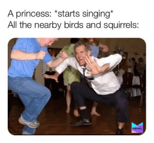 So bored right now: A princess: *starts singing*  All the nearby birds and squirrels:  МЕMES So bored right now