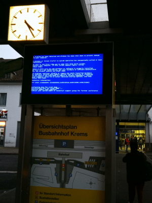 Trainstation in my city: A problem has been detected and windows has been shut down to prevent damage  to your computer.  A process or thread crucial to system operation has unexpectedly exited or been  terminated.  If this is the first time you've seen this stop error screen,  restart your comput er. If this screen appears again, follow  these steps:  Krensa  check to make sure any new hardware or software 1s properly 1nstalled.  If this is a new tnstallation, ask your hardware or software manufacturer  for any windows updates you might need.  If problems cont inue, disable or remove any newly instal1ed hardware  or software. Disable BIOS memory opt1ons such as caching or shadowing.  If you need to use Safe Mode to remove or d1sable components. restart  your computer, presS F8 to select Advanced Startup opt1ons, and then  select safe Mode.  Technical information:  *** STOP:  COxo0000003, Ox854 50518, Ox854 5D684, OX81C2CEBO)  OX000000F4  collecting data for crash dump...  Initializing disk for crash dump  Physical memory dump complete.  contact your system admin or technical support group for further assistance.  Übersichtsplan  Busbahnhof Krems  PI  Gleisanlage  Gleisanlage  Bahnhof  E  ABCD  PLL  i lhr Standort/Information  A Bushaltestellen  P Parkmögliehl Trainstation in my city