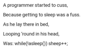 While(!asleep()){sheep++;}: A programmer started to cuss,  Because getting to sleep was a fuss.  As he lay there in bed,  Looping 'round in his head,  Was: while(lasleep(0)) sheep++; While(!asleep()){sheep++;}