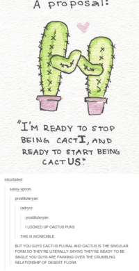 #TumblrMadeMeDoIt: A proposal  M READY TO STOP  BEING CACTI, AND  READY TO START BEIN4  CACTUS  Sass  spoon  prostituteryan  radnyro  itute  ILOOKED UP CACTUS PUNS  THIS IS INCREDIBLE.  BUT YOU GUYS CACTI IS PLURAL AND CACTUS IS THE SINGULAR  FORM SO THEY RE LITERALLY SAYING THEYRE READY TO BE  SINGLE YOU GUYS ARE FAWNING OVER THE CRUMBLING  RELATIONSHIP OF DESERT FLORA #TumblrMadeMeDoIt